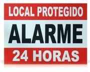 """Placa de Advertência Em Alumínio """"Local Protegido Alarme 24 Horas"""""""