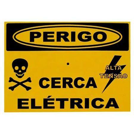 """Placa de Advertência para Cerca Elétrica Em Alumínio """"Perigo Cerca Elétrica"""""""
