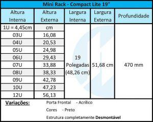 """Rack 19"""" Para Parede 12U x 470mm Com Porta Frontal Acrílica"""